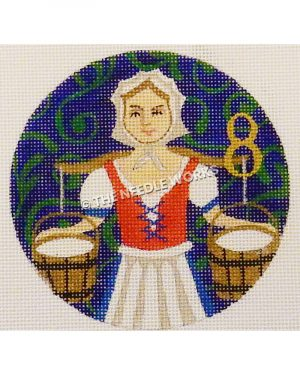blue ornament with maid carrying two buckets of milk in white and blue dress with red corset and gold 8 with green swirl pattern in background