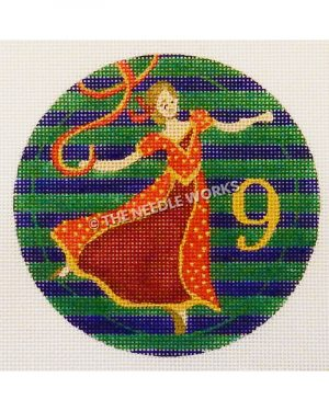 blue and green striped ornament with lady dancing in red and gold dress and gold 9