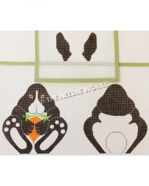 black and white bunny front and back sides holding a carrot with black ears separate