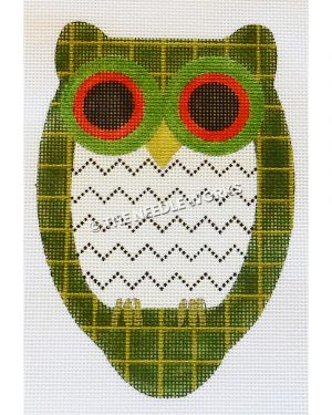 green and gold plaid owl with white belly with black zigzags and green and red eyes
