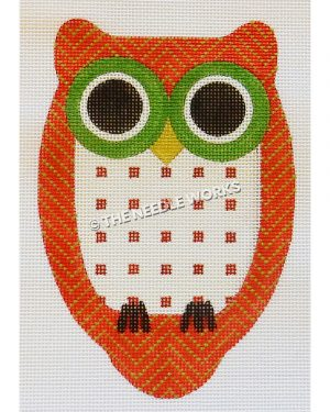 owl in red and green zigzag and white belly with red squares with green eyes