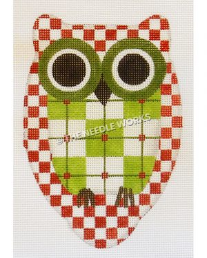 owl in red and white checkers and green and white plaid belly with green eyes