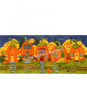 row of five pumpkin houses with yellow houses on dark blue sky with stars