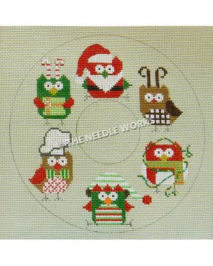 doughnut shape with red, green, and brown owls wearing Christmas decorations