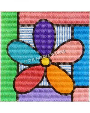 flower with purple, pink, orange, red, and blue petals with colored block border and blue and white striped background