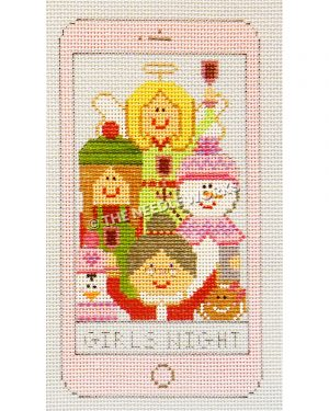 pink iphone with Mrs. Claus, angel, snowwoman, gingerbread woman, penguin, and elf raising glasses and Mrs. Claus taking a selfie with Girls Night at bottom