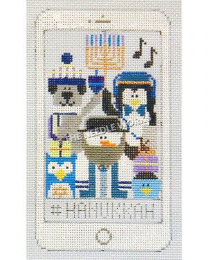 white iphone with snowman, silver dog, penguin, blue owl, and blue bird in snow hats holding a menorah with black music notes and #Hanukkah at bottom