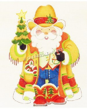 Santa in a yellow dust jacket, yellow vest and jeans with red boots and yellow cowboy hat holding Christmas tree