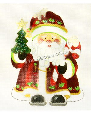 Santa in dark red suit holding Christmas tree and candy cane with snow on top and hat with mistletoe decorations