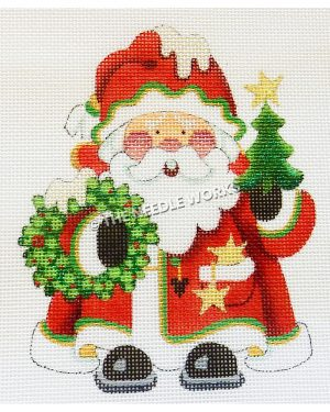 Santa in red suit holding a wreath and Christmas tree with snow on hat and wreath