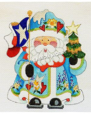 Santa in blue suit with yellow roses, red hearts, bluebonnets and stars holding Texas flag and Christmas tree
