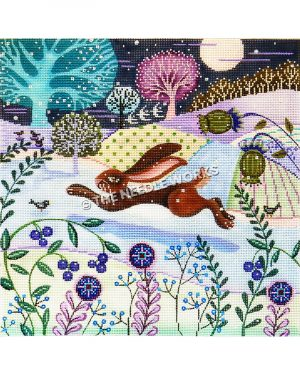 brown bunny running in snowy landscape with purple and blue flowers, patchwork pattern hills in green, yellow, purple and blue and trees and full moon in dark blue sky