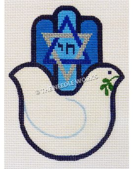 hamsa palm shape with white dove with olive branch in mouth and blue and silver Star of David with blue Hebrew writing on fingers