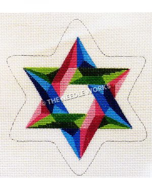 star of David in pink, blue, and green prisma pattern