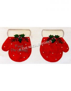 red gloves with white dots and trim and mistletoe with First Christmas written in silver on one