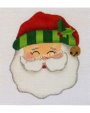 Santa face wearing red hat with green striped trim and mistletoe with gold jingle bell