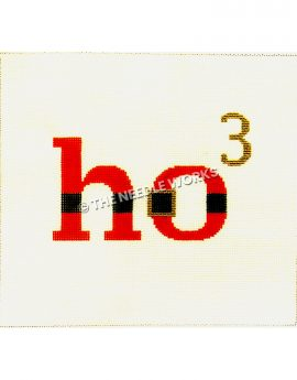 "Santa themed words ""ho3"" in red with black stripe and gold belt buckle and gold 3"