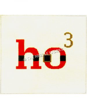 """Santa themed words """"ho3"""" in red with black stripe and gold belt buckle and gold 3"""