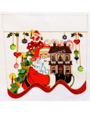 white stocking top with Santa carrying toy house with pink ribbon on top and Christmas tree behind and green, gold, and purple ornaments and red hearts hanging from gold ribbon with mistletoe