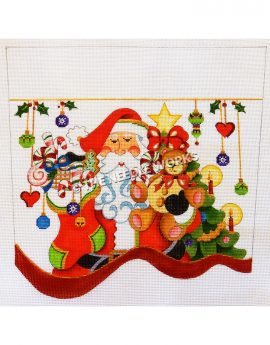 white stocking top with Santa carrying stocking and teddy bear in front of Christmas tree and green, gold, and purple ornaments and red hearts hanging from gold ribbon with mistletoe