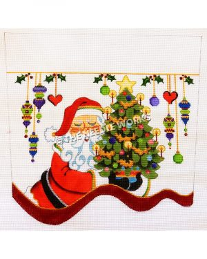 white stocking top with Santa carrying Christmas tree and green, purple, and yellow ornaments and hearts hanging from gold ribbon with mistletoe