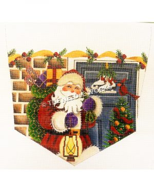 white stocking top with Santa carrying green and gold bag of toys standing in front of brick house with blue door and Christmas tree with red bird on top and yellow ribbon trim with holly leaves