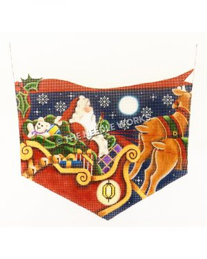 white stocking top with Santa flying in his sleigh and two reindeer on night sky with snowflakes with red ribbon and holly leaves trim
