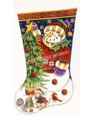 dark blue and white stocking with red and green trim showing snowman in red sweatshirt and yellow and white striped scarf placing star on top of Christmas tree and squirrel, rabbit, and redbird decorating a tree at the toe