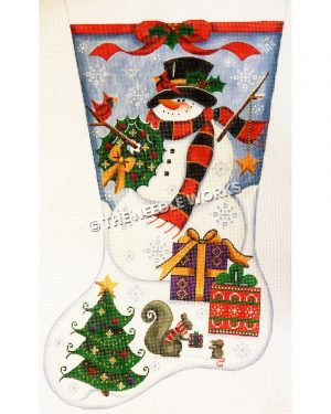 blue and white stocking with snowman holding wreath with red birds perched on arm and in top hat and gifts at his feet with Christmas tree at toe and squirrel handing gift to mouse