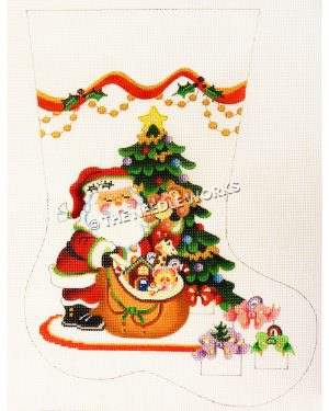 white stocking with Santa pulling toys from bag in front of Christmas tree with wrapped presents at the floor