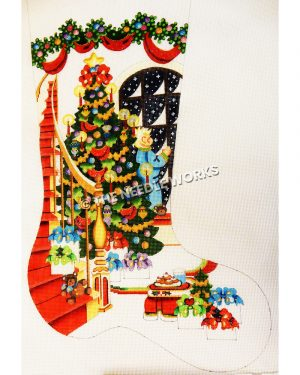 white stocking with red staircase wrapping around Christmas tree and blond child in blue pajamas looking out window with nighttime snow falling and gifts sitting on floor