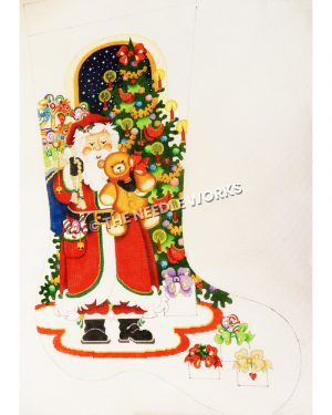 white stocking with Santa holding teddy bear and gold tassel standing in front of Christmas tree with white gifts with purple, green, red, and gold bows on the floor