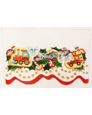 white stocking top with holly leaves, train cars, blue ribbon, red and orange candies with gold beaded trim and red ribbon at the bottom