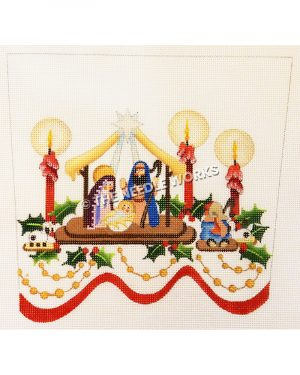 white stocking top with nativity scene framed by red candles and holly leaves with gold beaded trim and red ribbon at bottom