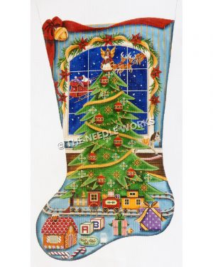 blue stocking with Christmas tree and train at bottom with toys in front and Santa flying in the window behind