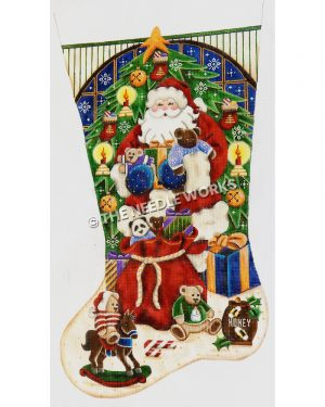 white stocking with Santa holding teddy bears next to red toy bag in front of Christmas tree with snowflakes falling in window behind and toys with bears at the bottom