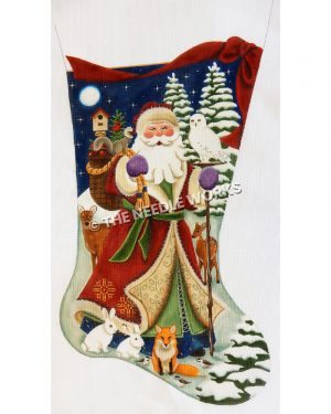 stocking with Santa in snow carrying bag of toys and forest animals around with night sky and snow-covered trees in backbground