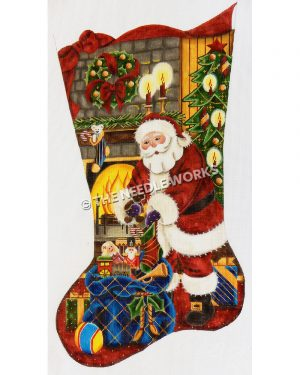 stocking with Santa pulling toys from blue bag in front of fireplace with stocking, wreath, candles, and Christmas tree