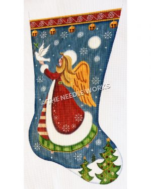 blue stocking of blond angel in red robe with white trim and green dress carrying a dove with an olive branch flying above three Christmas trees in snow