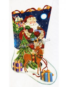 stocking with Santa in snow at night with blue and green bag of toys, Christmas tree, gifts and reindeer