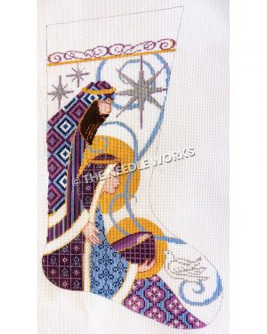 white stocking with Joseph and Mary holding Jesus in purple and blue patterned dress with silver stars, blue swirl, and white dove in background