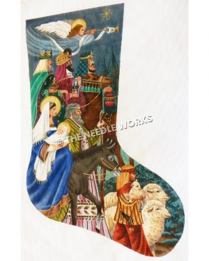 blue stocking with nativity theme showing angel flying with trumpet, three wise men with gifts, Mary on donkey holding baby Jesus, Joseph walking next to Mary and boy shepherd with sheep