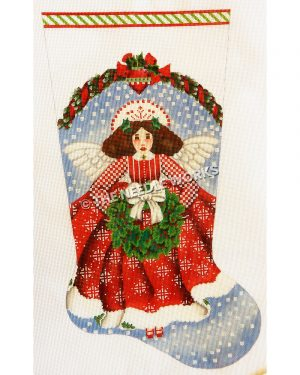 angel in red dress with white pattern holding wreath with white bow on blue and white background