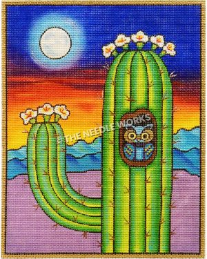blue and gold owl peeking out of hole in side of cactus with white flowers and rainbow colored landscape with moon in background