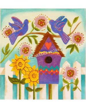 purple birds with red and yellow patterns sitting on branch with pink and brown flowers above a purple birdhouse with a red heart and white vence with sunflowers and pink and brown flowers