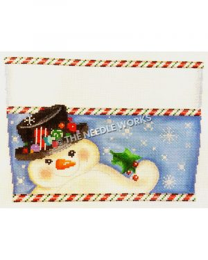 snowman holding holly leaf on blue background with snowflakes with white stripe on top and red, green and white candy stripe borders