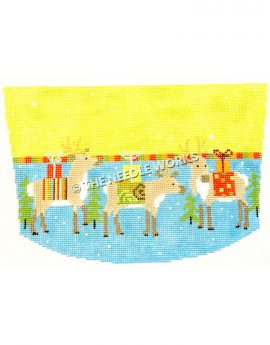stocking top with three reindeer with gifts on backs standing on blue with white dots and yellow stripe on top
