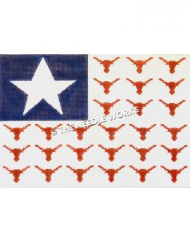 flag with white star on blue background and longhorn heads in stripe pattern on white background
