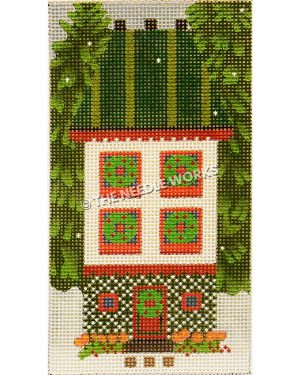 white two story house with green striped roof and wreaths on each window and door with tall evergreens on each side
