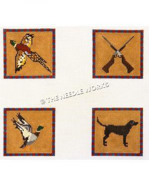 four squares in hunting theme with flying duck, rifles crossed, and dog on dark brown background with red and blue border